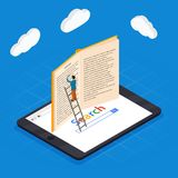 Online education isometric icons composition with laptop book smartphone electronic library and cloud computing. Conceptual images vector illustration Royalty Free Stock Photos