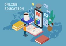Online education isometric icons composition with little people taking books from smartphone electronic library online. Online education isometric icons vector illustration