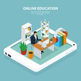 Online Education Isometric Illustration. Learner at computer during online education, interior objects on mobile device screen, turquoise background, isometric Royalty Free Stock Photo