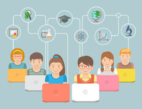 Online education Kids Flat Conceptual Illustration Stock Image
