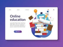 Online education landing page template. vector illustration