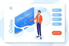 Online education landing page vector template vector illustration