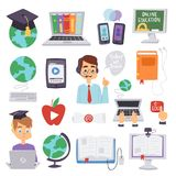 Online education languages school and travel programs distance online learning vector illustration teachers and icons Royalty Free Stock Images