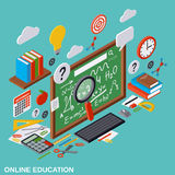 Online education, learning, teaching vector concept. Online education, learning, teaching flat 3d isometric vector illustration. Modern web graphic concept Royalty Free Stock Image