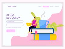 Online Education Library Web Page vector illustration