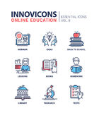 Online education line design icons set Stock Photos