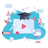 Online education modern concept with study objects, hat, pen, book. Modern on site learning training with play button stock illustration