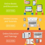 Online education,online training courses and royalty free illustration
