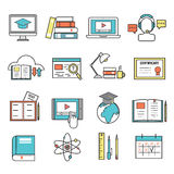 Online education ouitline icons vector set of distance school and webinar symbols. Online education ouitline icons vector set of distance education school and Royalty Free Stock Photos