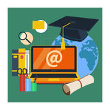 Online education, professional education. Set icons for education, online education, professional education in flat design style Stock Photos