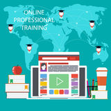 Online education, professional education. Set icons for online education training, professional education in flat design style Stock Images