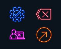 Online education, Service and Remove icons. Direction sign. Internet lectures, Cogwheel gear, Delete button. Neon lights. Set of Online education, Service and Stock Photography