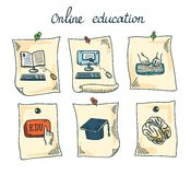 Online education sticker set Royalty Free Stock Photography