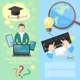 Online education student distance tutorials. Online education student studying distance tutorials university college lecturer lessons diploma and laptop vector Stock Image