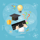 Online education students computer learn chemistry Stock Image