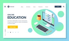 Online education and study. Landing page or banner design template. Vector 3d isometric illustration royalty free illustration