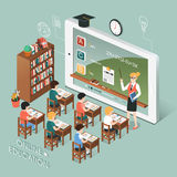 Online education with tablet. Flat 3d isometric design of online education with tablet Royalty Free Stock Photos