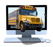 Online education teaching with technology learning. A yellow school bus coming out of a computer screen illustrating online education and teaching with Stock Image
