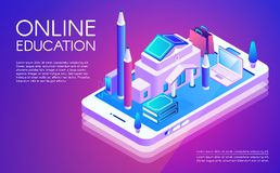 Online education technology vector illustration royalty free illustration