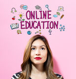 Online Education text with young woman Stock Photo