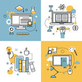 Online education thin outline icons vector set of distance school and webinar symbols Stock Image
