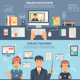 Online Education Training Banner Set Stock Photography