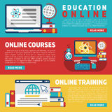 Online education training courses or webinars banners Stock Photo