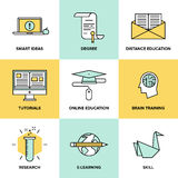 Online education and training flat icons set. Flat line icons set of online education, brain training games, internet tutorials, smart ideas and thinking Royalty Free Stock Photo