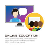 Online education vector icons. Webinar, school Royalty Free Stock Images