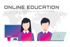 Online education vector icons. Webinar, school Royalty Free Stock Photo