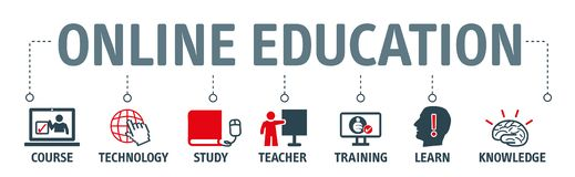 Banner Online Education Knowledge Expertise Intelligence Learn C royalty free illustration