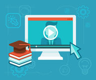 Online education. Vector webinar concept in flat style - video player - online education Stock Photos