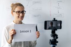Online Education, Webinar And Business Vlog Concept - Woman Teaching And Recording Video With Phone Stock Image