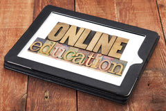 Online education in wood type Royalty Free Stock Images