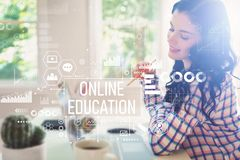 Online education with young woman royalty free stock photos