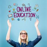 Online Education with young woman royalty free illustration