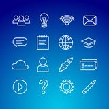 Online edukaci ikony set ilustracja wektor
