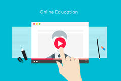 Online edukaci ilustracja Z Abstrakcjonistyczną przeglądarką internetową I biznesu trenerem Na odtwarzacz wideo Płaski wektorowy  Obraz Royalty Free