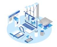 Online edukaci pojęcie Online kursy treningowi, specjalizacja, tutorials, wykładają 3d isometric projekt ilustracja wektor