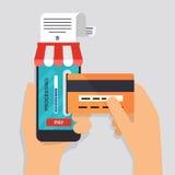 Online en mobiel betalingenconcept Het menselijke handvinger drukken Stock Foto's