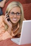 Online en op Mobiel Stock Foto