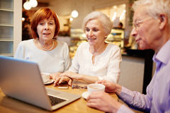 Online entertainment. Group of old buddies watching something interesting in laptop Stock Photo