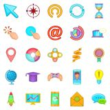 Online entertainment icons set, cartoon style. Online entertainment icons set. Cartoon set of 25 online entertainment vector icons for web  on white background Royalty Free Stock Image