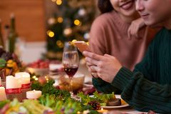 Online even on Christmas night Stock Photo
