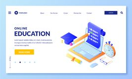 Online exam test vector 3d isometric illustration. Landing page banner template. Internet education, learning concept royalty free illustration