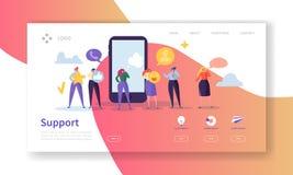 Online-för landningsida för teknisk service mall Tjänste- Websiteorientering för hjälp med den plana folkteckenoperatören stock illustrationer