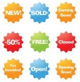 online-försäljningsetiketter Arkivbilder