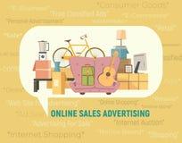 Online-försäljningssymbol stock illustrationer