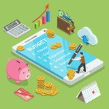 Online family budget flat isometric vector concept. Man is planning the family budget and write down it into the smartphone Royalty Free Stock Images