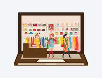 Online Fashion Store. Women shopping in a clothing store on laptop, Shopping fashion, bags, shoes, accessories . Online Fashion Store vector illustration Royalty Free Stock Photos